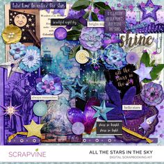All the Stars is a star themed mixed media digital scrapbooking kitinspired by the beauty of the night sky. An eclectic mix ofelements, stamps, paper ephemera, and 14 backgrounds will help you capture your story and unleash your creativity.