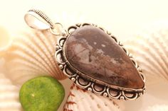 VINTAGE RETRO ANTIQUE BROWN PICTURE JASPER 925 STERLING SILVER FASHION PENDANT  #925silverpalace #Pendant