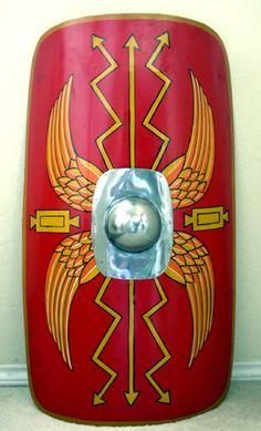 ancient roman shield More School Projects, Art Projects, Roman Shield, Roman Gladiators, Roman Legion, Roman Soldiers, Shield Design, Roman History, Historical Art