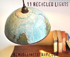 11 Recycled Lights - #home decor. I've made this lamp. Be sure and spray the inside, preferably with a reflective type paint.
