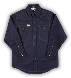 Rasco FR Navy Heavyweight Work Shirt with Snaps - 10.0 oz   Free Shipping when you spend $88 . We deliver FRC Products Direct at the best price available; Rasco FRC Direct is dedicated to helping you protect yourself and employees. Call us at 877-855-2699 Denim Button Up, Button Up Shirts, Shirts For Leggings, Shirts For Teens, Work Shirts, Dog Shirt, Shirts With Sayings, Work Wear, Shirt Dress