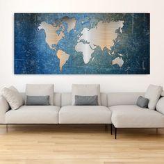 Metal effect world map πανοραμικός πίνακας σε καμβά Blue ( παγκόσμιος χάρτης ) Map, Night, World, Artwork, Work Of Art, Maps, The World, Earth