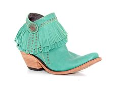 Women's Liberty Black Turquoise Cowgirl Boots. Short with fringe!