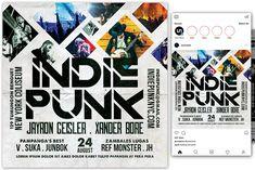 Indie Punk Flyer by KiraYamato Design Studio on Concert Flyer, Indie, Punk, Social Media, Templates, Flyers, Instagram, Studio, Design
