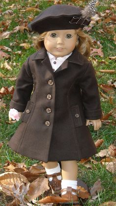 1940s 1950s Brown Wool Coat And Feathered Hat  by SugarloafDollClothes, $75.00