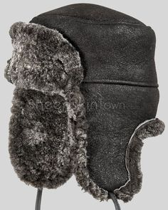 d18ab4fa392 Frosted Black Shearling Sheepskin Russian Hat Winter Hats For Men