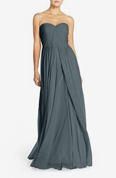 744a8a170116 Jenny Yoo Women's Mira Convertible Strapless Pleat Chiffon Gown, Denmark  Blue, 10