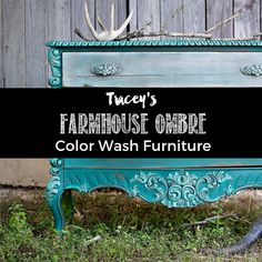 This gorgeous Teal Dresser has ombre drawers painted using five different shades of teal chalk paints from Heirloom Traditions. A colorful Farmhouse blend. Diy Garden Furniture, Paint Furniture, Furniture Makeover, Furniture Ads, Silver Furniture, Furniture Buyers, Porch Furniture, Simple Furniture, Furniture Refinishing