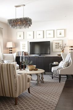 sarah richardson sarah house 4 family room  Carpet, chair pattern mixed with neutral chair, how to do neat coffee table, frame arrangement around TV