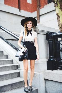 chic schoolgirl outfit ideas - black and white lace dress with bow collar, wide brimmed hat, studded loafers + a messy braid // Chiara Ferragni