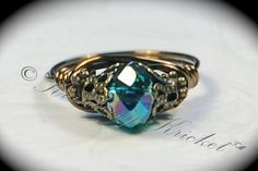 Lord of the Rings, Game of Thrones, Night Fury, Toothless, Teal Dragon - Teal Czech Glass Neo Victorian Ring