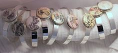 Silver plated cuff bracelets with badge