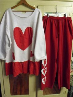 2-3X White Fleece Tunic with Red French Terry 2X by SheerFab