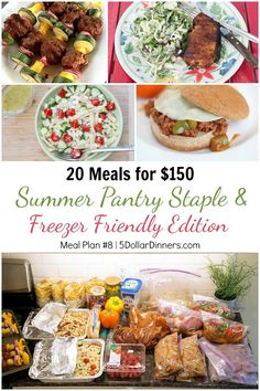 Summer Pantry Staple & Freezer Friendly Edition ~ 20 Meals Using Ingredients from Costco for $150 Plan #8 | 5DollarDinners.com