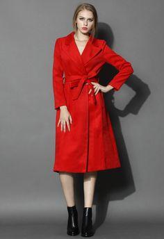 Scarlet Wool-blend Belted Coat