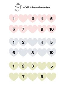 Let's fill in the missing numbers in heart number lines. Easy worksheet for kids learning 1 - 10  Heart Number Line Worksheet