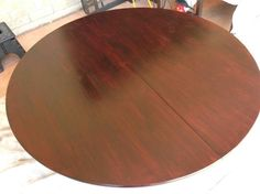 refinishing a dining room table, painted furniture, Sanded and applied second coat of Miniwax Polyshades I applied 4 coats each time lightly sanding between coats and wiping it free of dust with cheesecloth