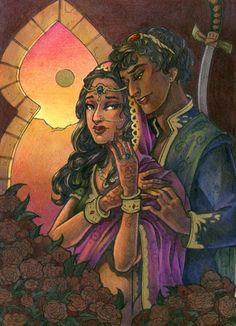 The Wrath and the Dawn - Shazi and Khalid, an art print by Grace Fong World Of Fantasy, Fantasy Story, Fantasy Books, Book Characters, Fantasy Characters, Wrath And The Dawn, Cassandra Clare Books, Fanart, Khalid