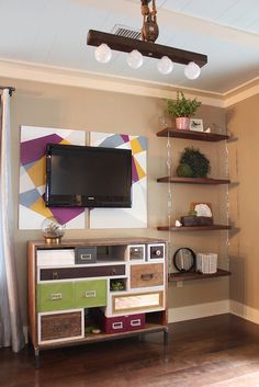 We are going to make some cozy images of modern DIY media console table with old wood. The leftover wood is easy to find in your home old thing store and from Decor, Furniture, Home, Modern Diy, Interior, Hanging Shelves, Shelves, Home Decor, Suspended Shelves