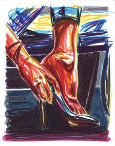 """Sfilarsi"", watercolor marking pen, 140lb/300gsm - 28x35.6cm paper, 2016 author: ernesto maria giuffre' #painting #pen #art #woman #feet #heels #remove"