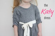 Jess from Bits for Babyand Craftiness Is Not Optional shares a tutorial for making her Katy dress for little girls. It's a simple knit dress with ruched sleeves. Sewing Kids Clothes, Sewing For Kids, Baby Sewing, Diy Clothing, Clothing Patterns, Dress Patterns, Sewing Patterns, Dress Tutorials, Sewing Tutorials