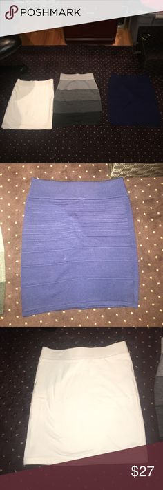 3 SKIRTS BRAND NEW!!! Never worn before mini skirts. All for the price of one!! Colors are navy blue, gray ombré, and an all white (no stains). Skirts Mini