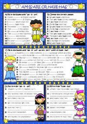 English worksheet: AM-IS-ARE OR HAVE-HAS (B&W+KEY included)