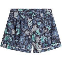 Burberry Printed Cotton Shorts (400 BAM) ❤ liked on Polyvore featuring shorts, florals, floral print shorts, burberry, tailored shorts, burberry shorts and anchor shorts