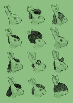 Hare Styles Art Print #パンクなウサギ達 #ミツコ