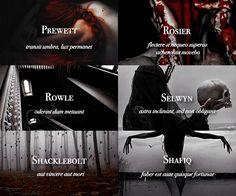 Sacred Twenty-Eight pureblood families: Prewett, Rosiler, Rowle, Seewyn, Shacklebolt, Shafiq