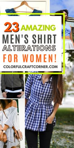 Learn how to refashion a men's button-up shirt into women's clothes. Turn one of your husband's shirts into a tunic top, dress, or skirt with these fantastic shirts upcycle tutorials. #shirtrefashion #upcycling #DIYclothes Thrift Store Refashion, Clothes Refashion, Shirt Refashion, Shirt Alterations, Trash To Couture, Shirt Makeover, Bell Sleeve Shirt, Mens Button Up, Dress Shirts For Women
