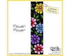 Loom Bracelet Pattern: Flower Power - for cuff bracelet