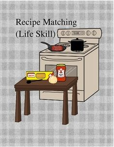 This product is a life skill task that teaches students to match ingredients to recipes as well as kitchen items needed to prepare recipe. Included is 10 recipe pages each with its own images to match bold/underlined ingredients and kitchen items needed.
