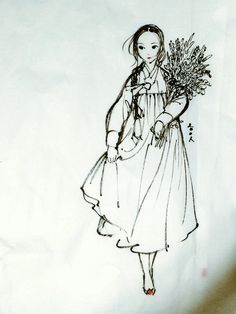 A girl with flower by theobsidian on DeviantArt Korean Illustration, Illustration Art, Pencil Art Drawings, Drawing Sketches, Modern Hanbok, Girl Sketch, Korean Art, Traditional Art, Korean Traditional
