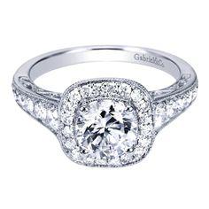 ENGAGEMENT - 1.60cttw Cushion Shaped Halo Diamond Engagement Ring