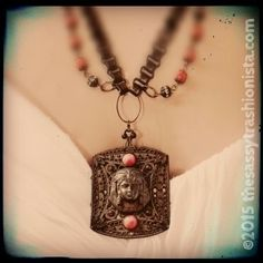 Egyptian Revival upcycled vintage fur clip, rosary and book chain necklace