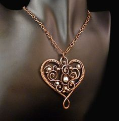Beloved Wire Wrapped Copper Pendant Containing Freshwater Pearls and Copper…
