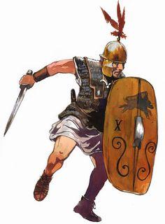 soldado romano época republicana en: La guerre des Gaules (Tarek et Vincent Pompetti).  Illustrations: Vincent Pompetti