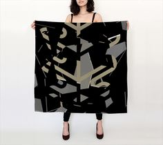 Black Liquor Geometric Silk Scarf