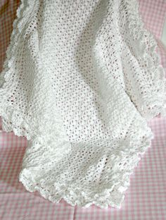 "Pure natural cotton 'Victorian' baby crochet blanket in white Double lace edging 30""x 30"" Heirloom Baptism Christening Blessing Receiving"
