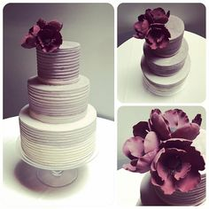 """45 Likes, 1 Comments - Honey Crumb Cake Studio (@honeycrumbcakes) on Instagram: """"Taupe-purple dégradé buttercream and plum-colored sugar anemones for Katy and Josh's chic urban…"""""""