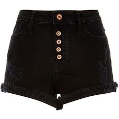 River Island Washed black distressed Ruby denim shorts (620 DOP) ❤ liked on Polyvore featuring shorts, bottoms, pants, short, black, sale, destroyed denim shorts, ripped shorts, torn shorts and mid rise shorts