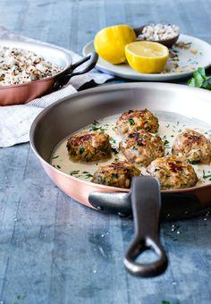 Lemon Cardamom Meatballs with Pine Nuts and Garlic Tahini Sauce