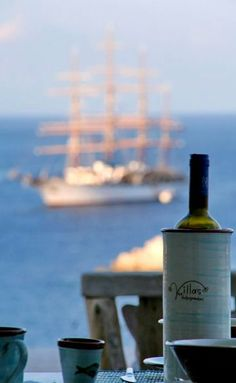 Enjoying a glass of traditional homemade wine at Folegandros Island with this view! Greek Island Tours, Greek Islands, Homemade Wine, Mediterranean Sea, Travel Destinations, Greece, Places To Go, Beautiful Places, Vacation