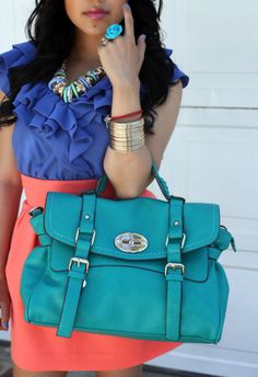 Teal bag. where can i get that bag?!