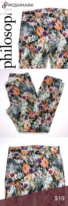 """Philosophy Watercolor Floral Jeans ✔️Skinny Fit ✔️98% Cotton•2% Spandex ✔️Inseam: 26.5"""" approx. ✔️No Holes, Stains or Damages ✔️1571-7 Philosophy Jeans"""