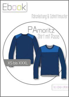 Shirt mit Passe PAmoritz # Gr XS - XXXL # Schnittmuster und Anleitung als PDF, Ein Shirt mit Passe im Vorderteil, die sich in den Rücken reinzieht und somit vom Rücken her wie ein Raglanärmel erscheint. Blitzschnell genäht: So lassen sich wunderbar Uni-Stoffe zusammenpatchen. PAmoritz kann als Langarm- und als Kurzarmvariante genäht werden. Mit Patches oder auch ohne. # ki-ba-doo