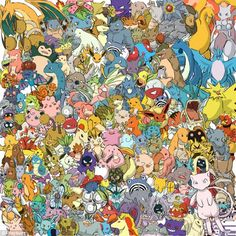 Can YOU spot the cheeky Pikachu among the Pokémon? A crowd of Pokemon characters hides one of the game's most popular characters, Pikachu 150 Pokemon, Pokemon Facts, Pokemon Memes, Cute Pokemon, Pokemon Stuff, Pikachu, Pokemon First Generation, List Of Characters, Pokemon Pictures
