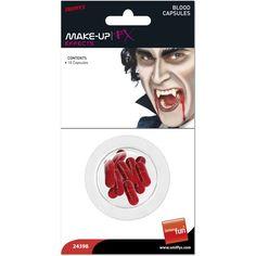 Vampyrerne kommer! Halloween Kunstigt Blod Kapsler - Pakke med 10. Uhyggelige kapsler med blod. Perfekt som prikken over i'et til dit Halloweenkostume. Velegnet til alle udklædningsfester, fastelavn, Halloween- og temafester med horror, Spøg og Skæmt, Harry Potter, spøgelser mm. Når du bider i kapslen, kommer blodet ud.
