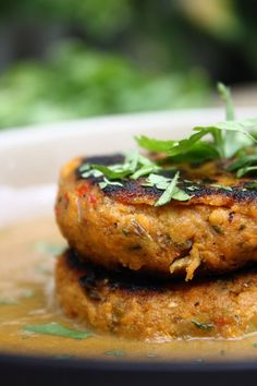 Caribbean Sweet Potato Patties with Spicy Coconut and Spinach Sauce from Cook Eat Live Vegetarian
